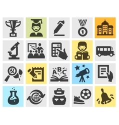 School education set black icons signs and vector