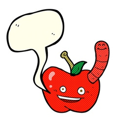 Cartoon apple with worm with speech bubble vector