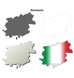 Benevento blank detailed outline map set vector