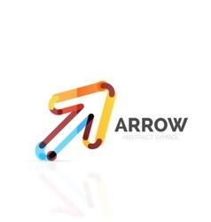 Linear arrow abstract logo connected multicolored vector