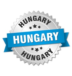 Hungary round silver badge with blue ribbon vector