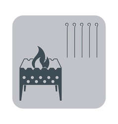 Barbecue grill with skewers icon vector