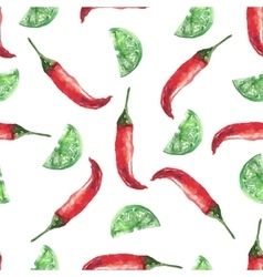 Chilli and lime hand drawn watercolor painting on vector