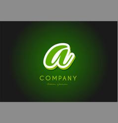 A alphabet letter logo green 3d company icon vector