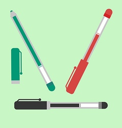Black red and green pens vector image vector image