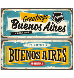 Buenos aires argentina retro greeting card templat vector
