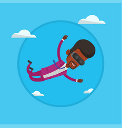 businessman in vr headset flying in the sky vector image vector image
