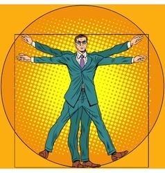 Businessman vitruvian man vector