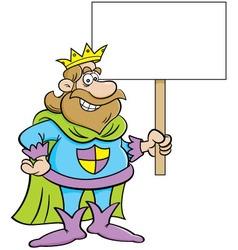 Cartoon king holding a sign vector