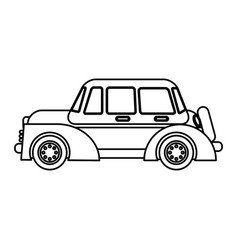 Classic car transport speed outline vector