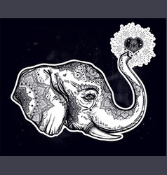 Decorative profile elephant profile with heart vector
