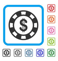 Dollar casino chip framed icon vector