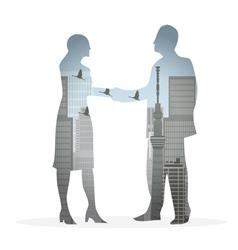 Double exposure handshake businessman vector