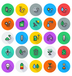 eco icon set on round background vector image vector image