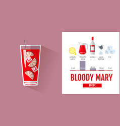 Flat style cocktail bloody mary menu vector