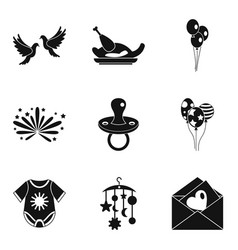Fondness icons set simple style vector
