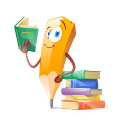 Funny pensil with books education concept vector