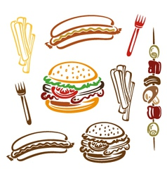 Hamburger hotdog fries vector image vector image