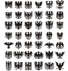 Heraldic eagles silhouettes set vector