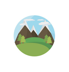 landscape mountains tree meadow picnic vector image