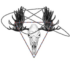 Moose skull and beads vector image vector image