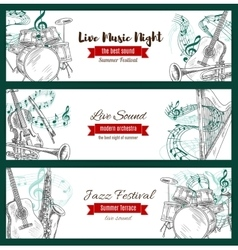 Musical instruments sketch jazz music banners vector image vector image