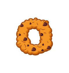 O letter cookies cookie font oatmeal biscuit vector