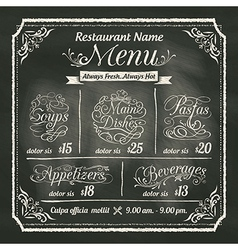 Restaurant Food Menu Design Chalkboard Background vector image vector image