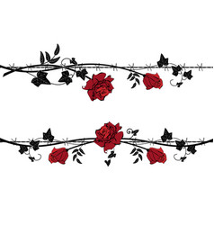 set of dividers with rose with barbed wire vector image vector image