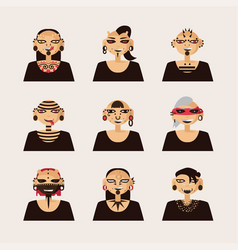 set with male characters drawn with body vector image vector image