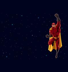 superhero flying 2 space vector image vector image