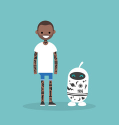 Tattoo subculture human and robot fully covered vector
