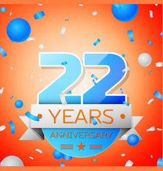 Twenty two years anniversary celebration vector