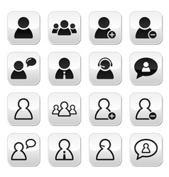 Users avatars buttons set - businessman customers vector image vector image