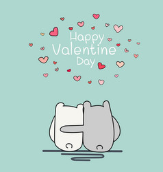 valentine day card with two cute bear vector image