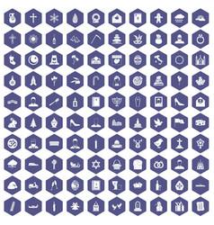 100 church icons hexagon purple vector