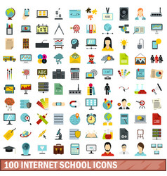100 internet school icons set flat style vector image