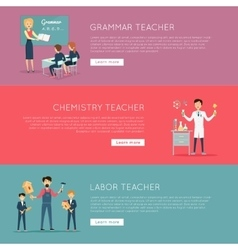 Set of banners with different teaches professions vector