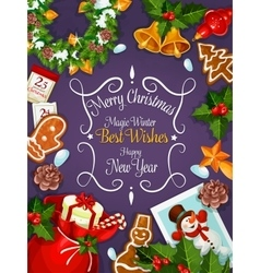 Merry Christmas New Year wishes card poster vector image