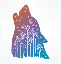 Howling double exposure wolf forest background vector