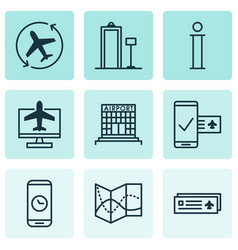 set of 9 traveling icons includes airfield vector image