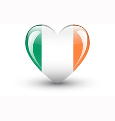 Heart-shaped icon with national flag of ireland vector
