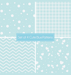 set of 4 cute retro blue patterns and textures vector image
