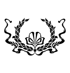 Black and white foliate wreath with a ribbon vector