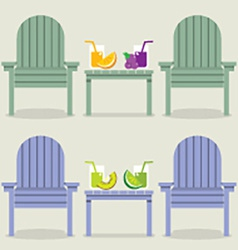 Chairs set with fruit juice glasses vector