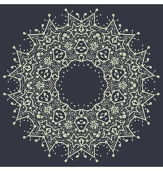 Mandala in outlines over gray background vintage vector