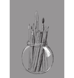Pencils in jar vector