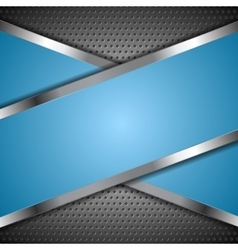 Abstract blue background with metallic design vector