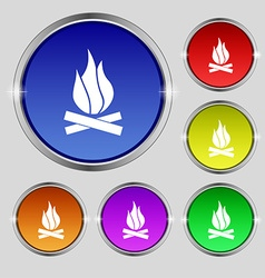 A fire icon sign round symbol on bright colourful vector