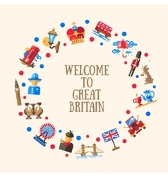 Welcome to great britain circle card with famous vector
